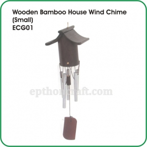 Wooden Bamboo House Wind Chime (small)