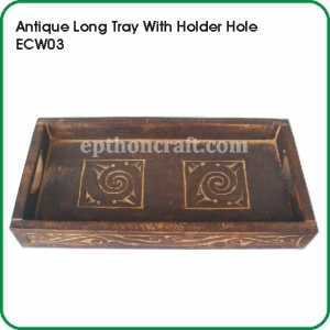 Antique Long Tray with Holder Hole