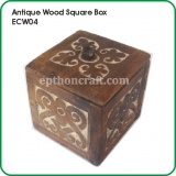 Antique Wood Square Box
