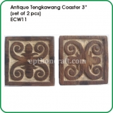 "Antique Tengkawang Coaster 3"" (set of 2 pcs)"