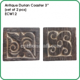 "Antique Durian Coaster 3"" (set of 2 pcs)"