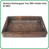 Antique Rectangular Tray with Holder Hole
